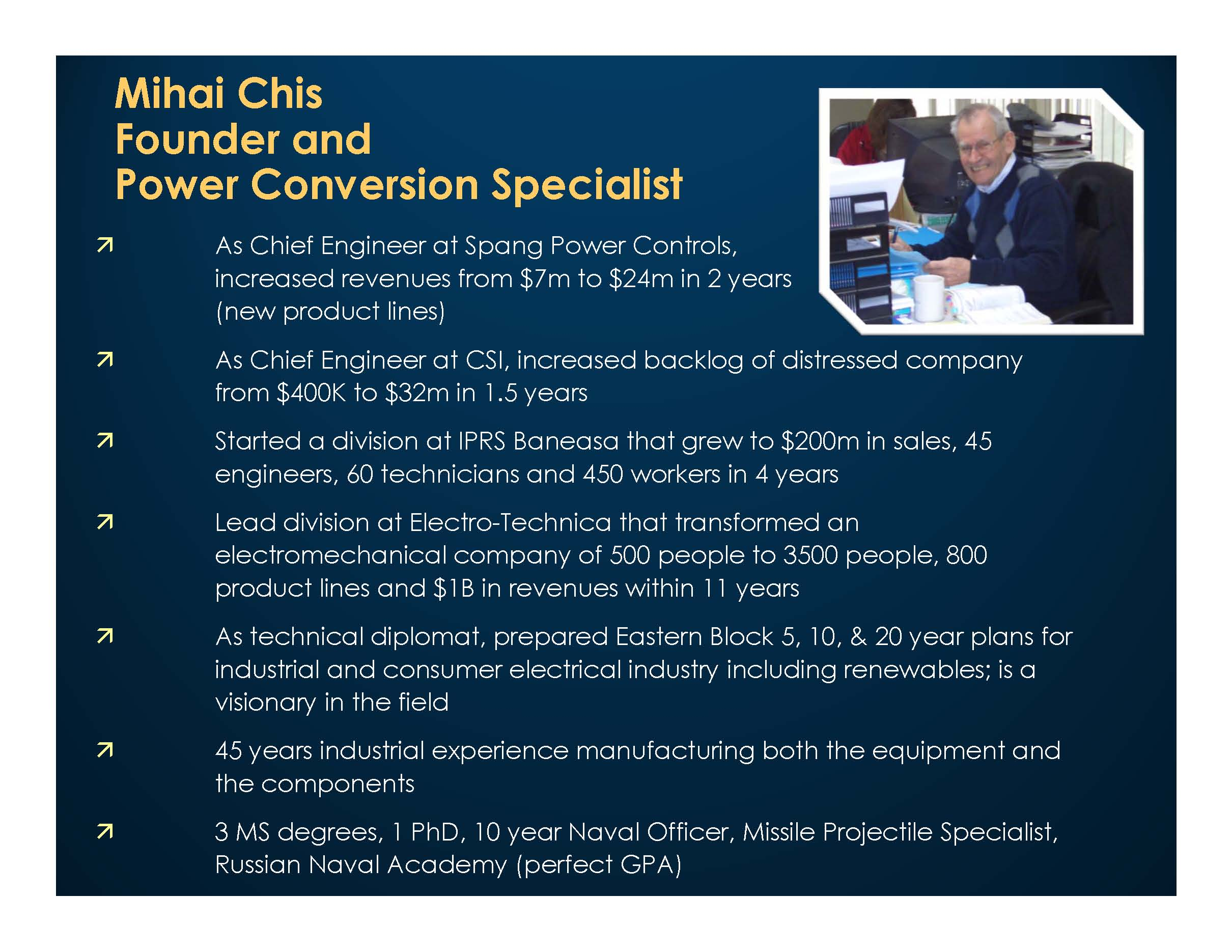 Mihai Chis, Founder and Power Conversion Specialist