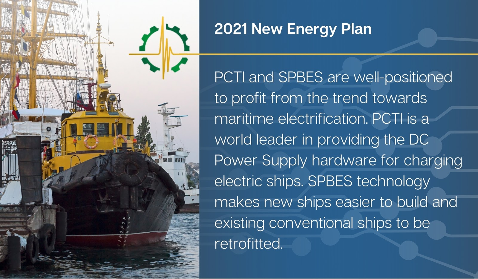 PCTI and SPBES are well-positioned to profit from the trend towards maritime electrification